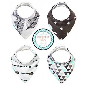 Kaydee Baby Best Bandana Drool and Dribble Bibs with Adjustable Snaps for Girls and Boys (Feathers) Set of 4 with Gift Bag