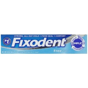 Fixodent Dentures Adhesive Cream Free Twin Pack 2.4 Oz,