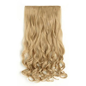 """OneDor 20"""" Curly 3/4 Full Head Synthetic Hair Extensions Clip On/in Hairpieces 5 Clips 140g (25#-light Golden Blonde)"""