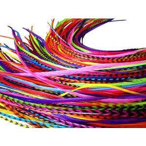 Feather Hair Extensions, 100% Real Rooster Feathers, Long Rainbow Colors, 20 Feathers with Bonus FREE Beads and Loop Tool Kit, By Feather Lily