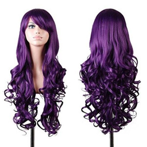 EmaxDesign Wigs 32 Inch Cosplay Wig For Women With Wig Cap and Comb(Dark Purple)