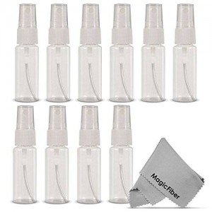 Goja (10 Pack) Empty 20mL (0.66oz.) Clear Plastic Fine Mist Spray Bottle (Less Than 1oz.) + MagicFiber Microfiber Cleaning Cloth