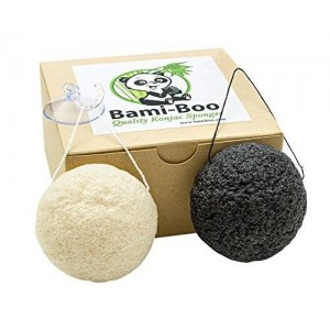 Bami-Boo Konjac Sponge - Black and White - 2 Pack - All Natural Fiber - Environmentally Friendly + Suction Cup with Hook and Attached String