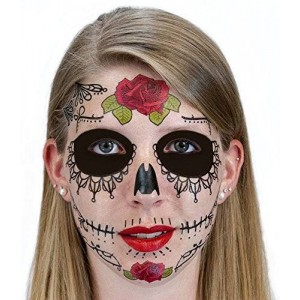 Myriahs Bazaar Black Lacey Web Sugar Skull Day of the Dead Temporary Face Tattoo