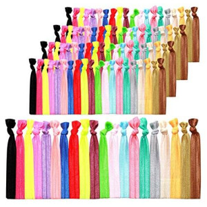K&M KandM Elastic Hair Ties 100 Pack Ponytail Holders No Crease Hand Knotted Fold Over Assorted - Bright and Pastel Colors