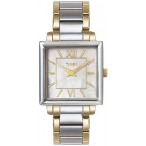 Timex Womens Elegant Square Mother-of-Pearl Dial Two Tone Stainless Steel Watch T2M876