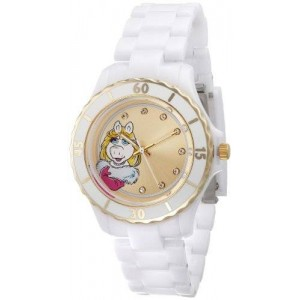 Muppets Women's MU2050 Miss Piggy Gold Sunray Dial White Plastic Bracelet Watch