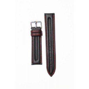 20mm BULOVA Black Neoprene and Genuine Leather Lining Watchband with Red Stitching