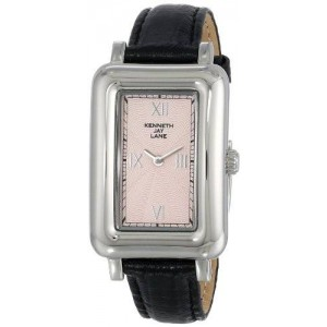 Kenneth Jay Lane Women's KJLANE-0907S-BLK 900 Series Pink Textured Dial Black Leather Watch