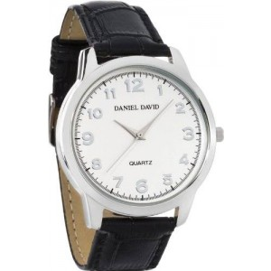 Daniel David Men's | Classic Watch With Crocodile Pattern and White Dial (Genuine Leather Band) | DD10701