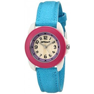 Sprout Women's ST/1060DPTQ Easy-to-Read Dial Turquoise Organic Cotton Strap Watch