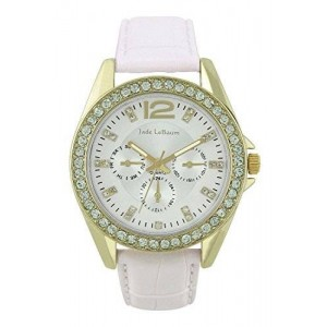 Womens White Leather Strap Watch Gold-Tone Rhinestones Accented Bezel Jade LeBaum - JB202738G