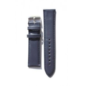 22mm Blue Oil-Tanned Calfskin Leather Watchband with Heavy Buckle and Red-Loop Keeper
