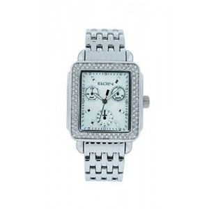 Elgin EG7047 Women's Square Mother of Pearl Analog White Stone Watch