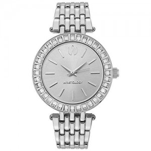 WRISTOLOGY Madison Womens Chunky Metal Silver Boyfriend Watch Diamond Crystal