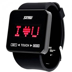 Touch Screen Digital LED Waterproof Boys Girls Sport Casual Wrist Watches (Black)