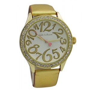 Womens Dress Watch Gold Tone Leather Strap White Dial Crystal Bezel Quartz Jade LeBaum - JB202866G