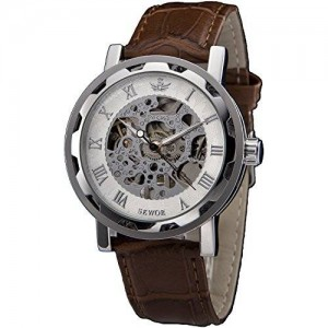 Sewor Men's Elegant Hand Wind Mechanical Leather Watch Brown
