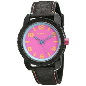 Sprout Unisex ST/7011PKBK Pink Corn Resin Dial Black Cork Strap Watch