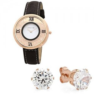 STEELTIME Women's 18k Rose Gold Plated Floating Crystal Watch with Matching CZ Stud Earring Gift Set