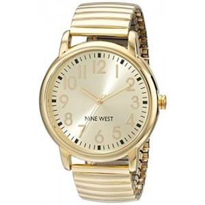 Nine West Women's NW/1676CHGB Easy-To-Read Gold-Tone Expansion Watch