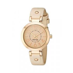 Nine West Women's NW/1712PKRG Rose Gold-Tone Case Blush Pink Strap Watch