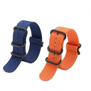 2pcs 24mm Nato Ss Nylon Striped Blue,orange Interchangeable Replacement Watch Strap Band-5 Ring Black Pvd Buckle