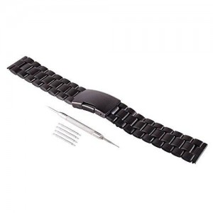 FORESEEX 22mm Replacement Metal Stainless Steel Bracelet Watch Band Strap Straight End Solid Links for Original Pebble