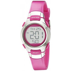 Armitron Sport Women's 45/7012PKSV Digital Chronograph Matte Pink Resin Strap Watch