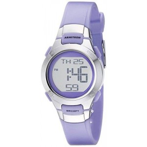 Armitron Sport Women's 45/7012PRSV Purple and Silver-Tone Digital Watch