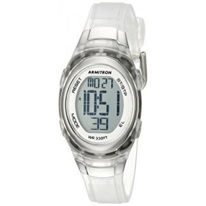 Armitron Sport Women's 45/7034TCL Digital Watch with Clear Resin Strap