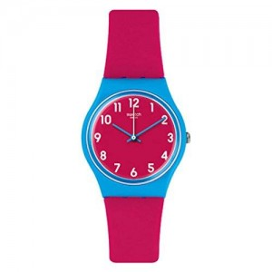 Swatch GS145 Lampone Pink Blue White Analog Dial Silicone Band Women Watch NEW