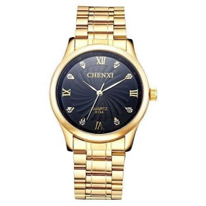 Fq-003 IP Gold plating Steel Roman Numeral Dail With Rhinestones Mens Wrist Watches For Man Black