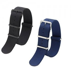 2pc 22mm Nato Ss Nylon Striped Black,navy Blue Interchangeable Replacement Pebble Lg Watch Strap Band