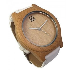 Bamboo Watch with White Leather Strap