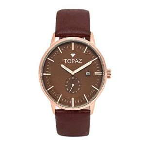 Topaz UNISEX 5060ABR Robust design Brown Face dress watch.with date.