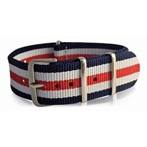 22mm Blue, White and Red Stripes Nylon NATO Interchangeable Watch Strap