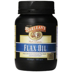 3M Barlean's Organic Oils High Lignan Flax Oil Softgels, 100 Count Bottle, 1000 mg ea.