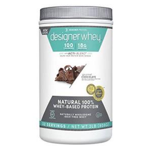 Designer Protein 100% Premium Whey Protein Powder, Gourmet Chocolate, 2 Pound Canister