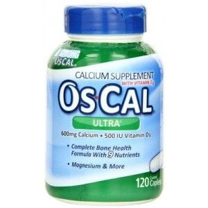 OsCal OS-Cal Ultra 600 Plus Calcium Supplement Tablets with 9 Essential Vitamins and Minerals, 120-Count Bottles (Pack of 2)