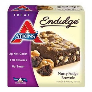 Atkins Endulge Nutty Fudge Brownie Treat Bar, 1.4 oz. Bars, 5 Count