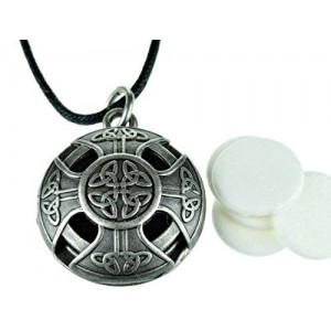 mEssentials Celtic Cross Pewter Aromatherapy Essential Oil Diffuser Necklace Locket Pendant Jewelry