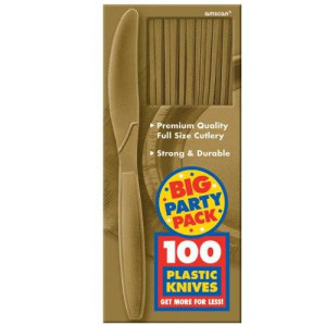 Amscan Big Party Pack 100 Count Mid Weight Plastic Knives, Gold