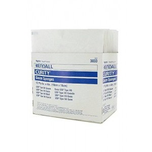 """McKesson 3033 Sponge Curity 2's Gauze Sterile Cotton 4x4"""" 12Ply 50/Bx by Kendall Company"""
