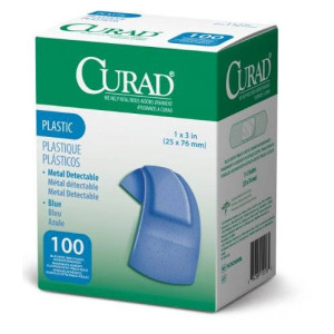 Curad Woven Blue Detectable Bandage, 100-Count (Pack of 2)