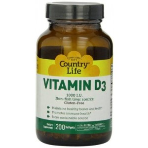 Country Life Vitamin D3 1000 IU Soft Gels, Large, 200 sg, 200 Count