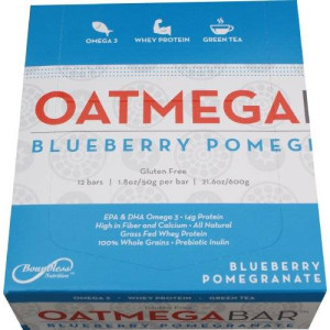 Boundless Nutrition Bar Wild Blueberry Crisp Oatmega 1.8 Ounce Bars, Gluten-Free, Soy-Free, Egg-Free (Pack of 12)