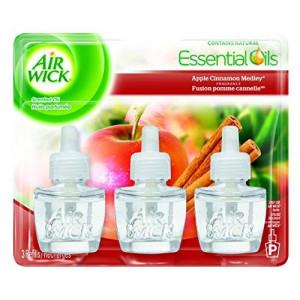 Air Wick Scented Oil Refill Plug in Air Freshener Essential Oils, Apple Cinnamon Medley, 3ct, 2.01oz