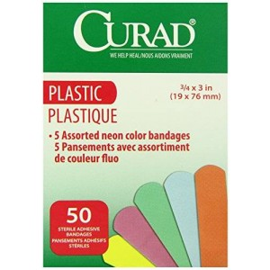 Medline Curad Neon Adhesive Bandages, Natural, 50 Count