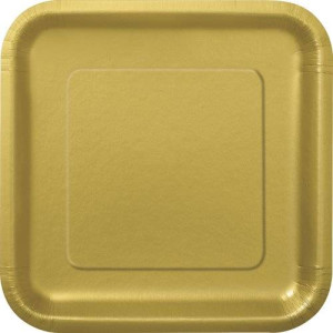 Unique Square Gold Dessert Plates, 16ct